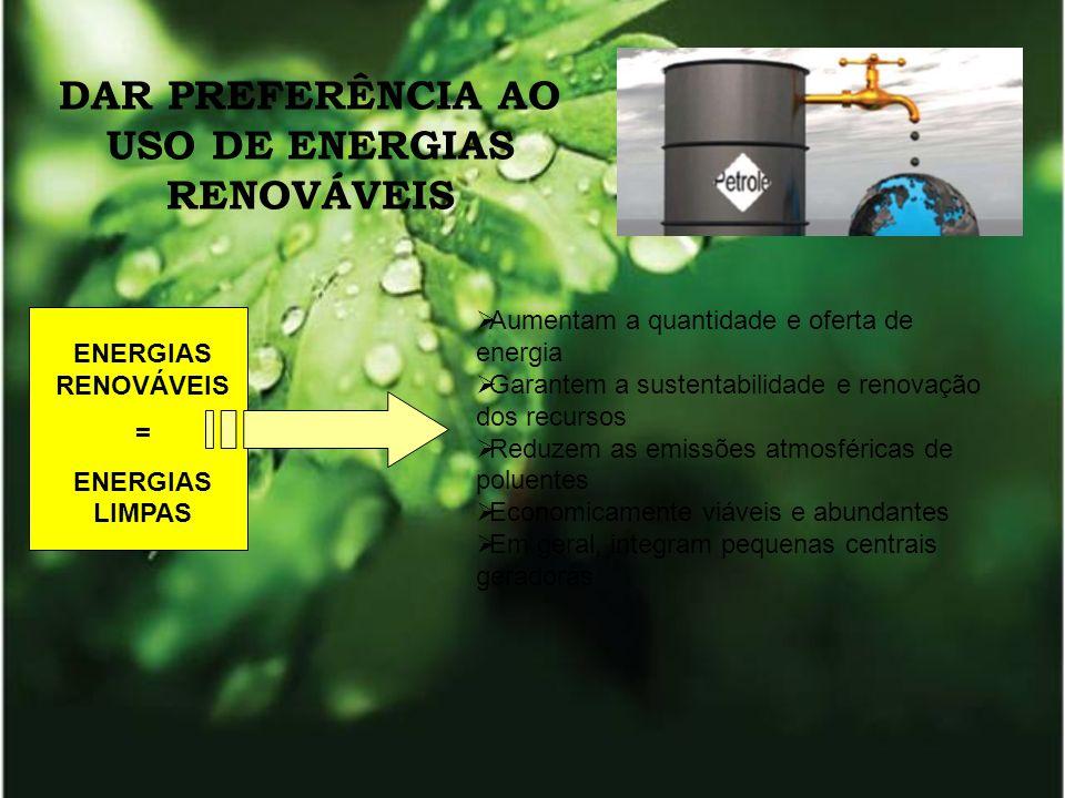 DAR PREFERÊNCIA AO USO DE ENERGIAS RENOVÁVEIS