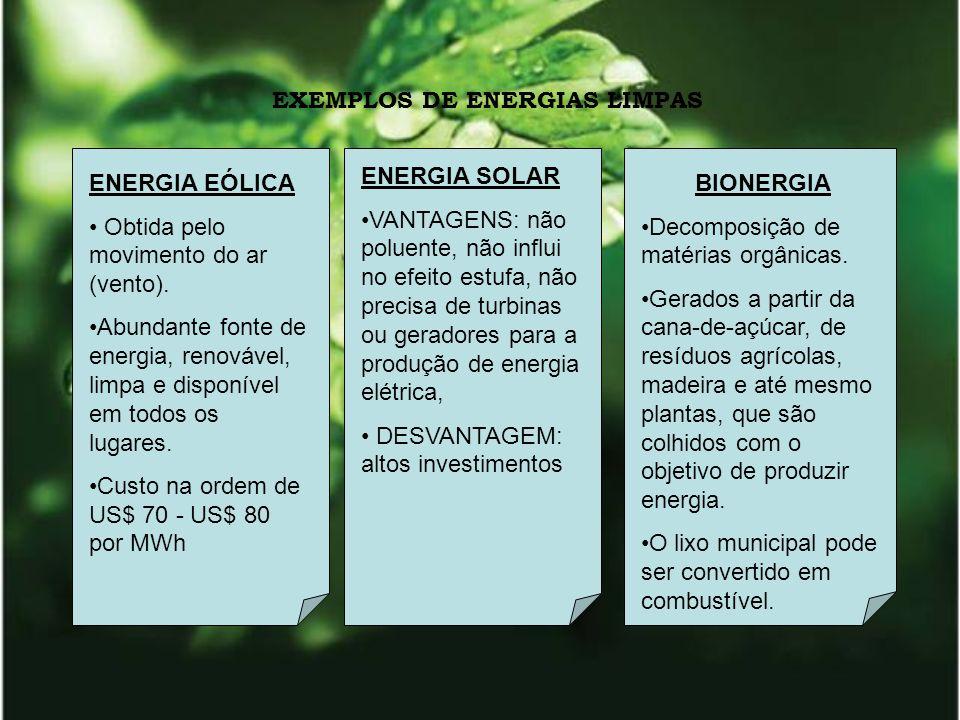 EXEMPLOS DE ENERGIAS LIMPAS