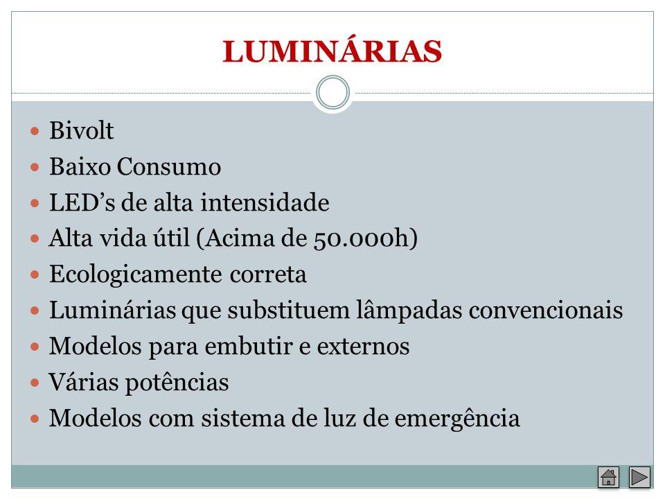 LUMINÁRIAS Bivolt Baixo Consumo LED's de alta intensidade