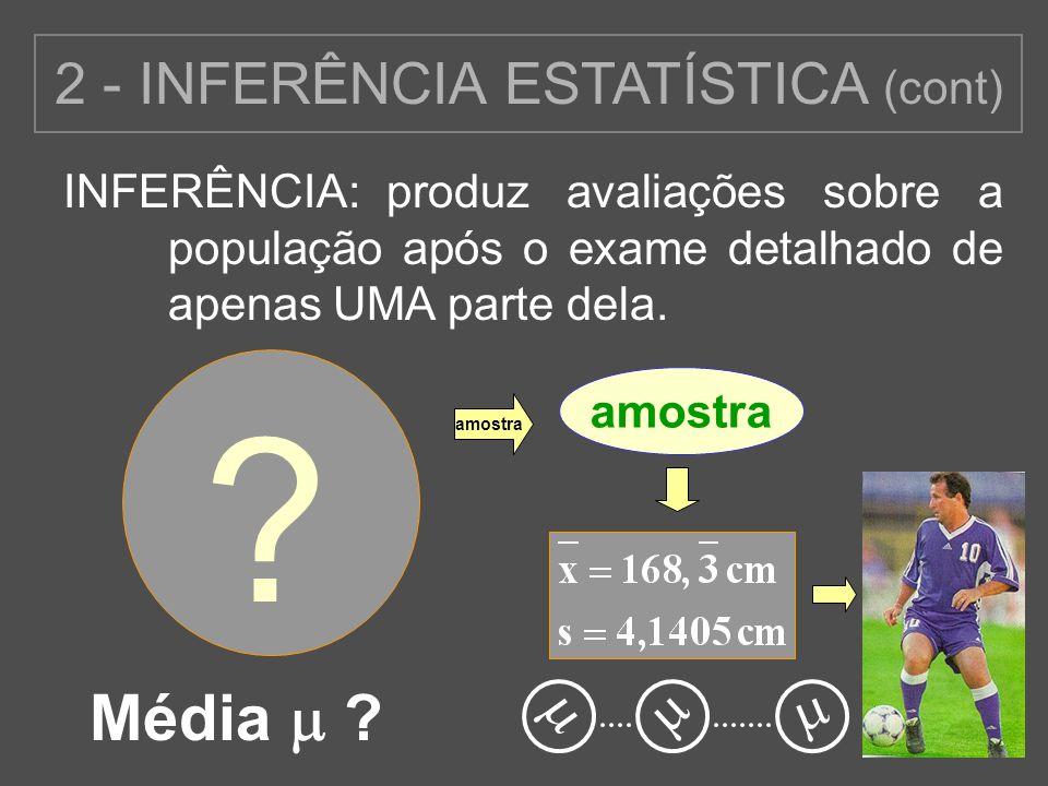 2 - INFERÊNCIA ESTATÍSTICA (cont)