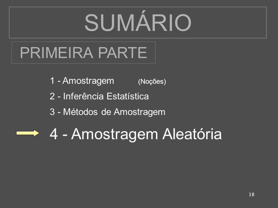 SUMÁRIO PRIMEIRA PARTE 4 - Amostragem Aleatória