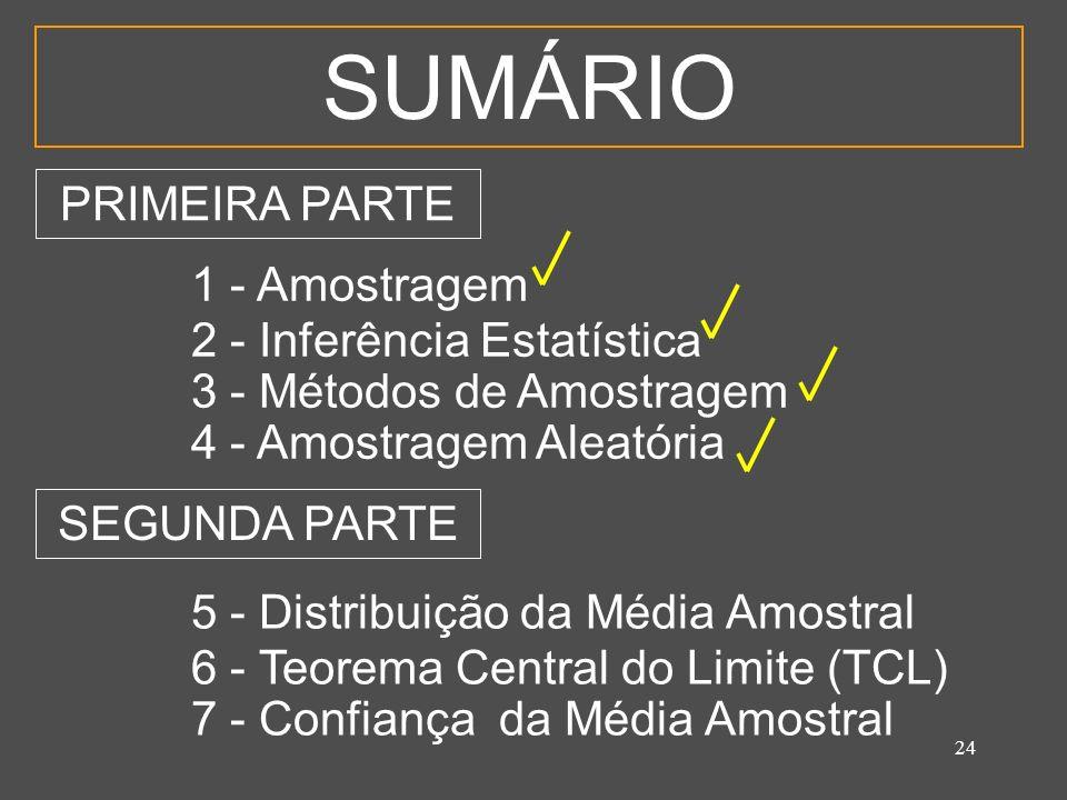 SUMÁRIO PRIMEIRA PARTE 1 - Amostragem 2 - Inferência Estatística