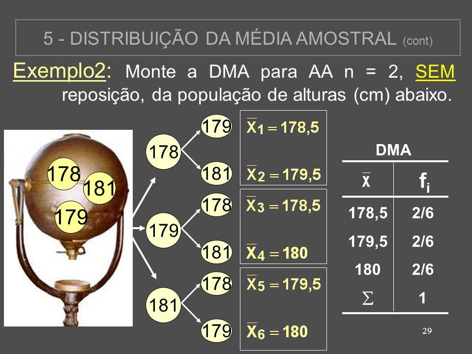 5 - DISTRIBUIÇÃO DA MÉDIA AMOSTRAL (cont)
