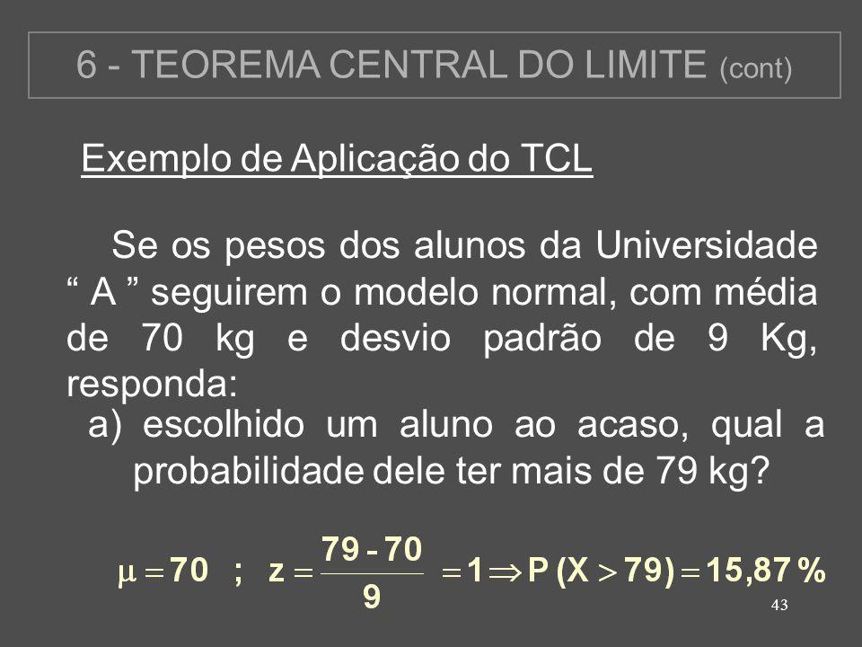 6 - TEOREMA CENTRAL DO LIMITE (cont)
