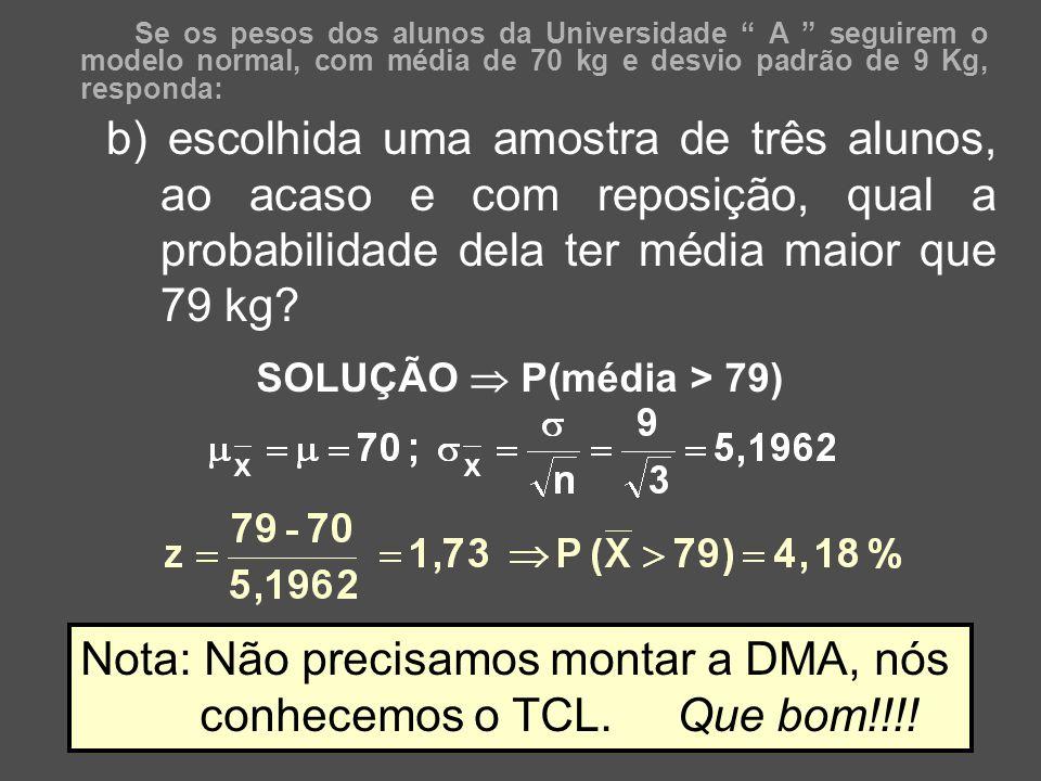 Nota: Não precisamos montar a DMA, nós conhecemos o TCL. Que bom!!!!