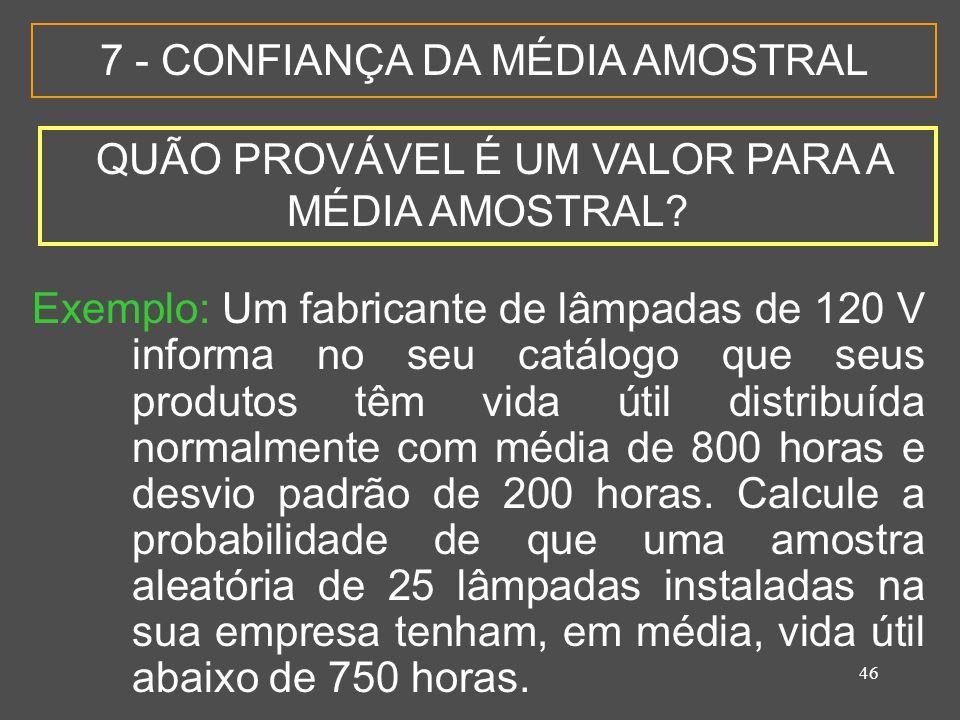 7 - CONFIANÇA DA MÉDIA AMOSTRAL