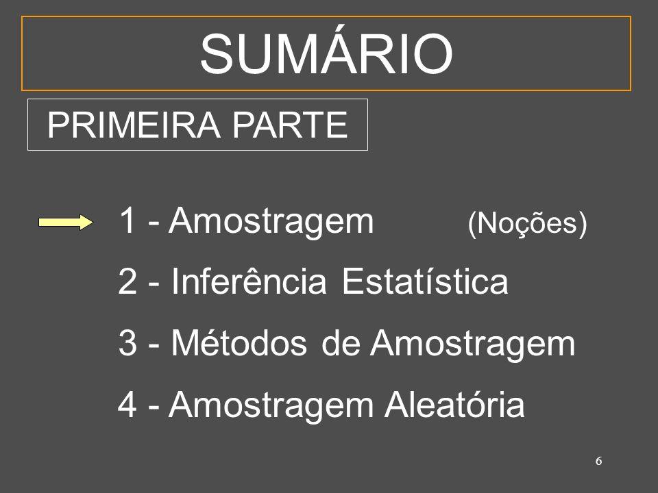 SUMÁRIO PRIMEIRA PARTE 1 - Amostragem (Noções)