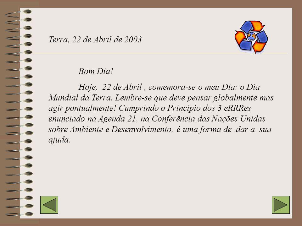 Terra, 22 de Abril de 2003 Bom Dia!