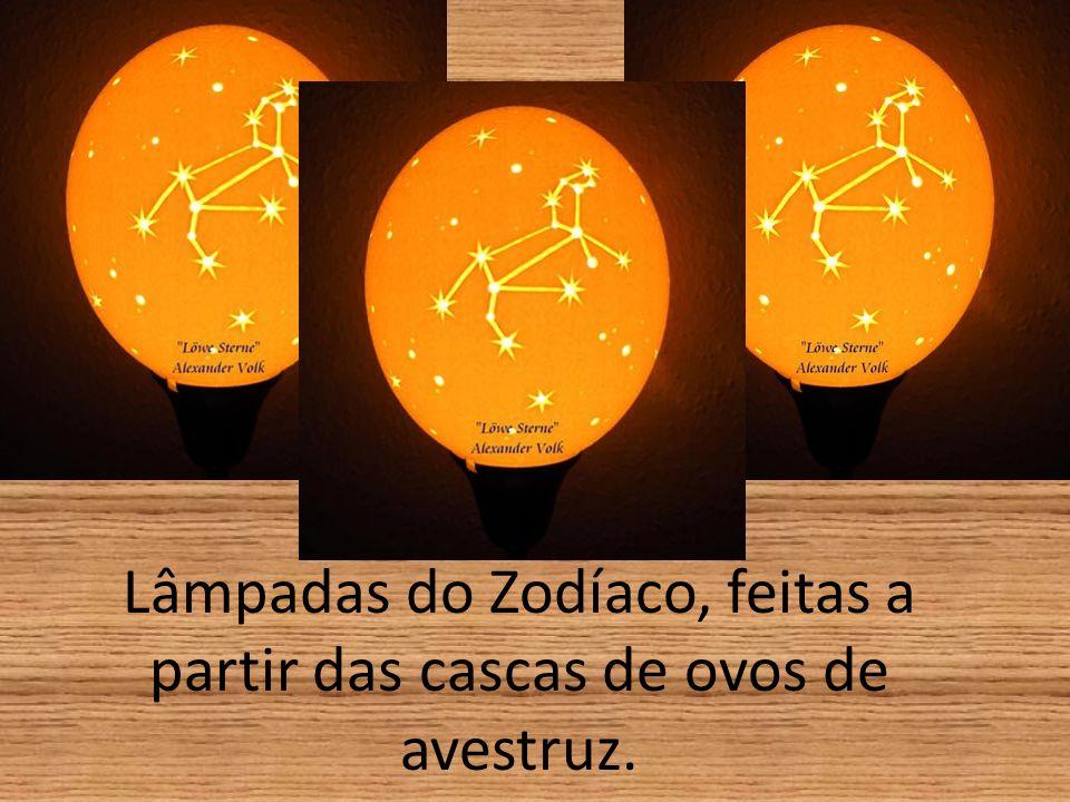 Lâmpadas do Zodíaco, feitas a partir das cascas de ovos de avestruz.