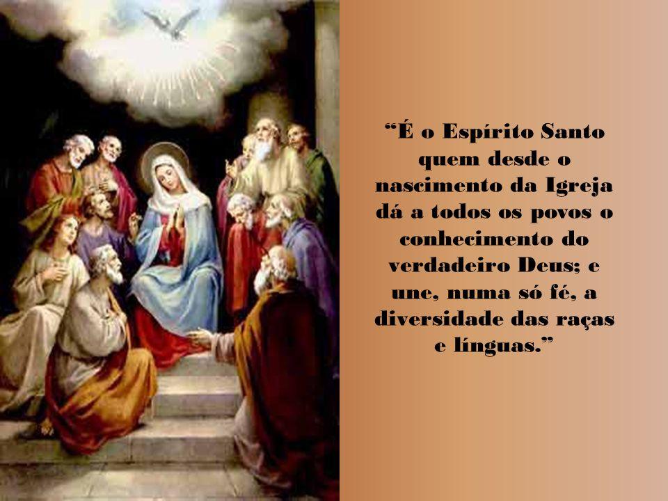 É o Espírito Santo quem desde o nascimento da Igreja dá a todos os povos o conhecimento do verdadeiro Deus; e une, numa só fé, a diversidade das raças e línguas.