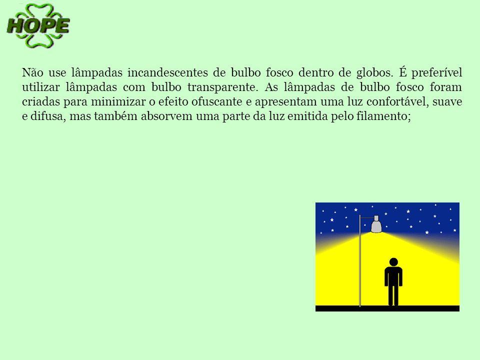 Não use lâmpadas incandescentes de bulbo fosco dentro de globos