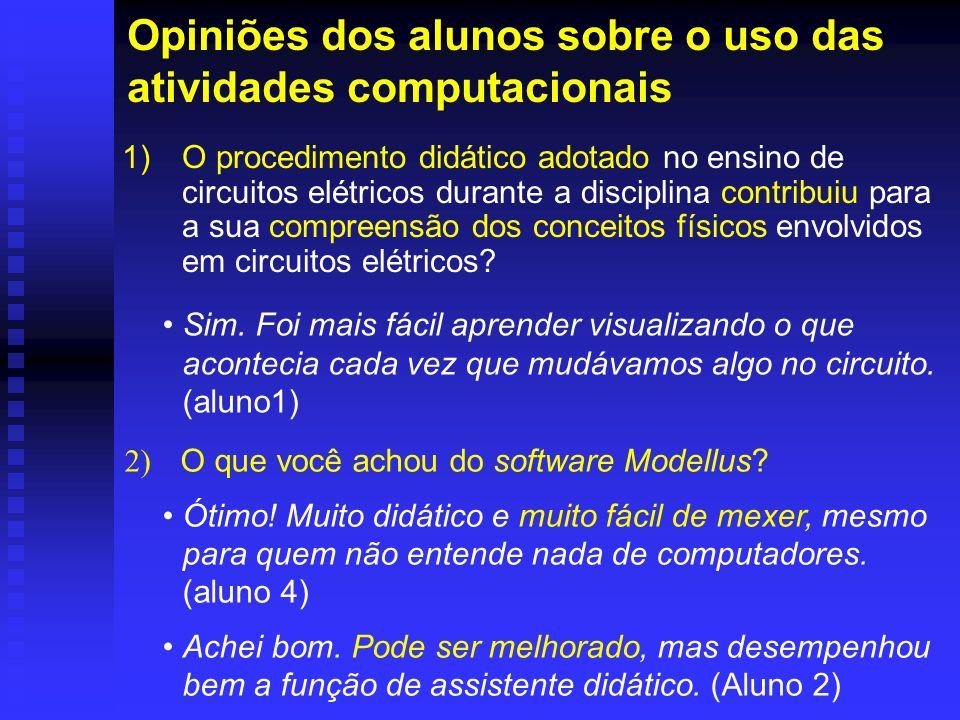 Opiniões dos alunos sobre o uso das atividades computacionais