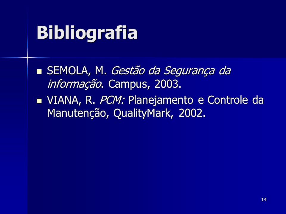 Bibliografia SEMOLA, M. Gestão da Segurança da informação.