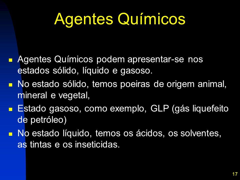 Agentes Químicos Agentes Químicos podem apresentar-se nos estados sólido, líquido e gasoso.
