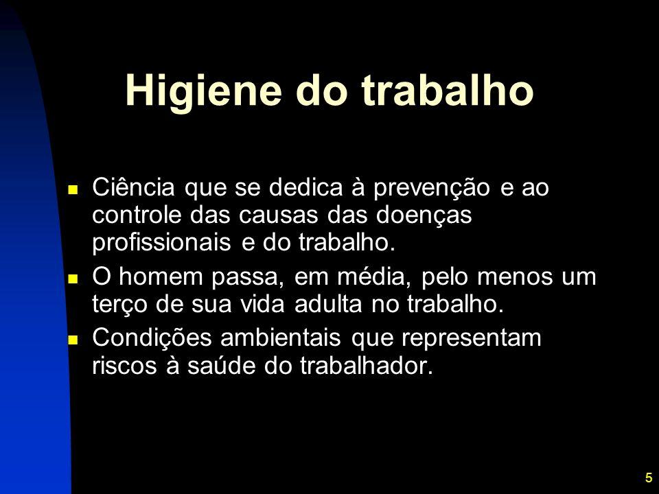 Higiene do trabalho Ciência que se dedica à prevenção e ao controle das causas das doenças profissionais e do trabalho.