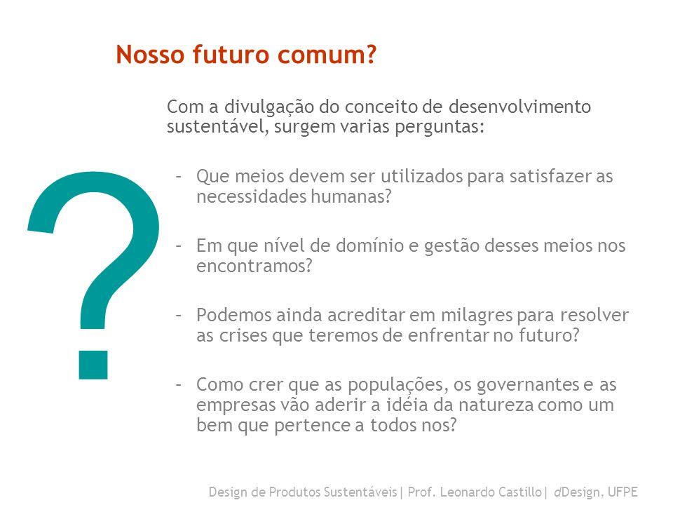 Nosso futuro comum Com a divulgação do conceito de desenvolvimento sustentável, surgem varias perguntas: