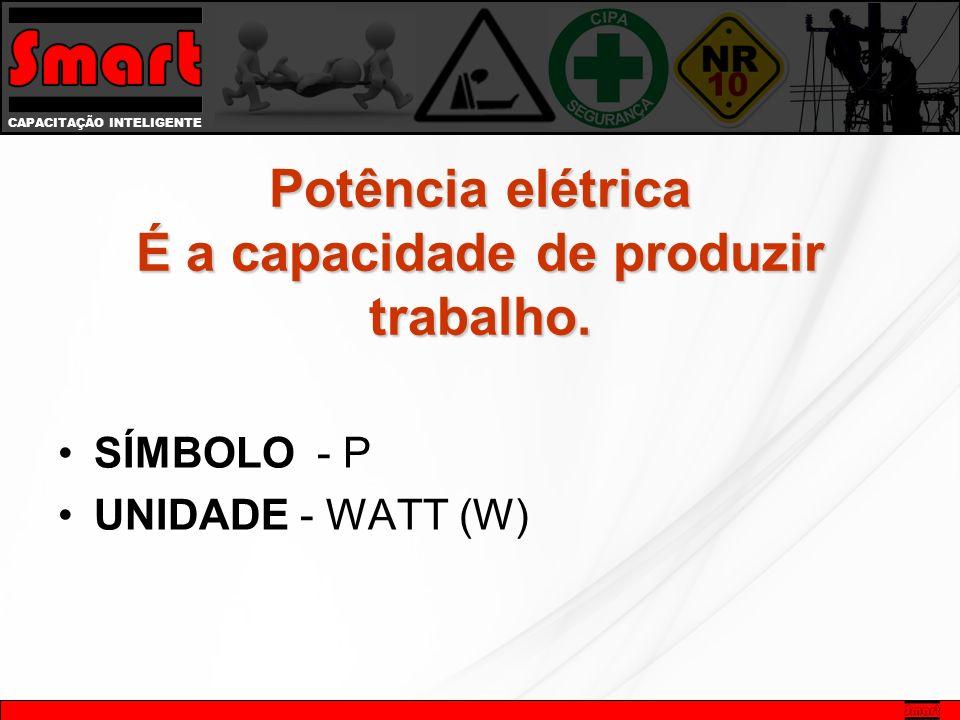 Potência elétrica É a capacidade de produzir trabalho.