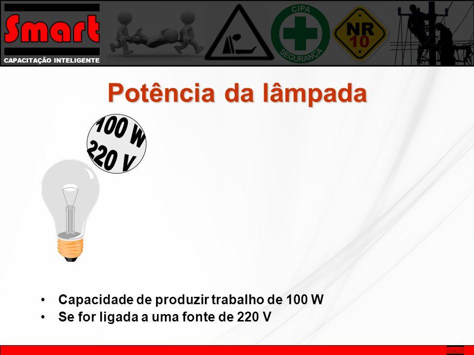Potência da lâmpada 100 W. 220 V. Capacidade de produzir trabalho de 100 W.
