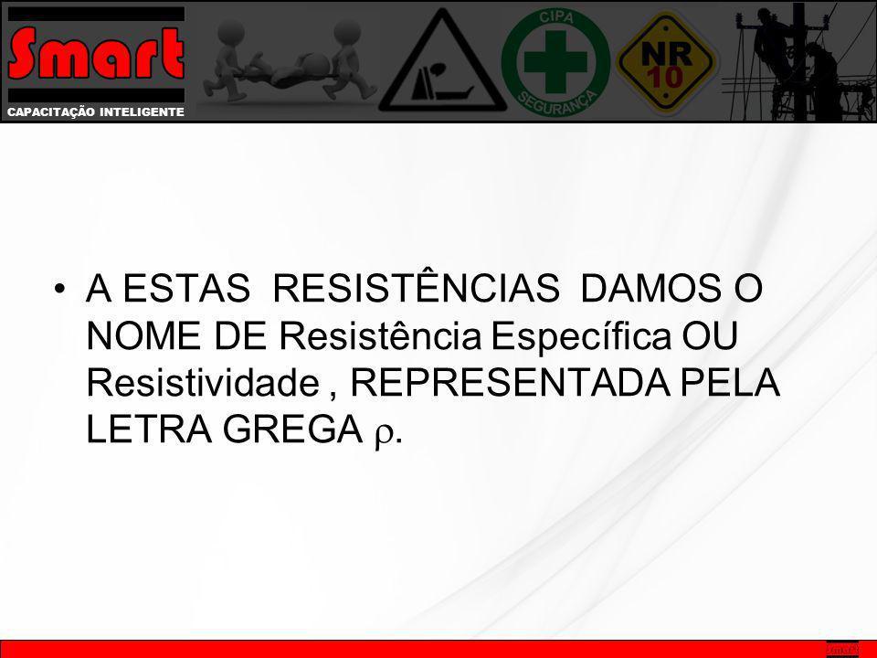 A ESTAS RESISTÊNCIAS DAMOS O NOME DE Resistência Específica OU Resistividade , REPRESENTADA PELA LETRA GREGA .