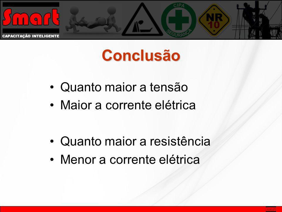 Conclusão Quanto maior a tensão Maior a corrente elétrica