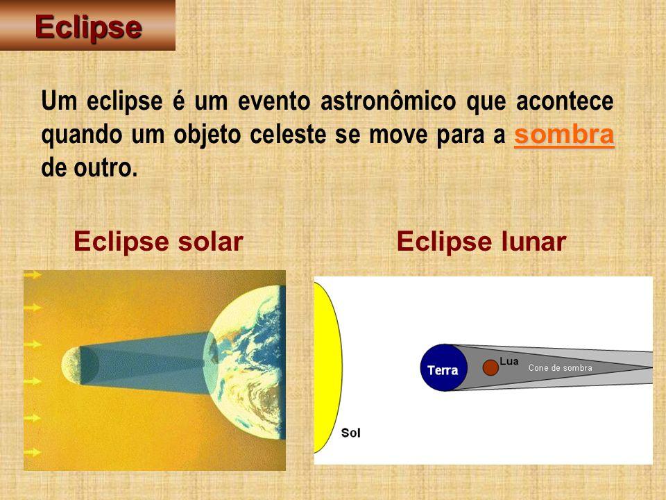 Eclipse Um eclipse é um evento astronômico que acontece quando um objeto celeste se move para a sombra de outro.