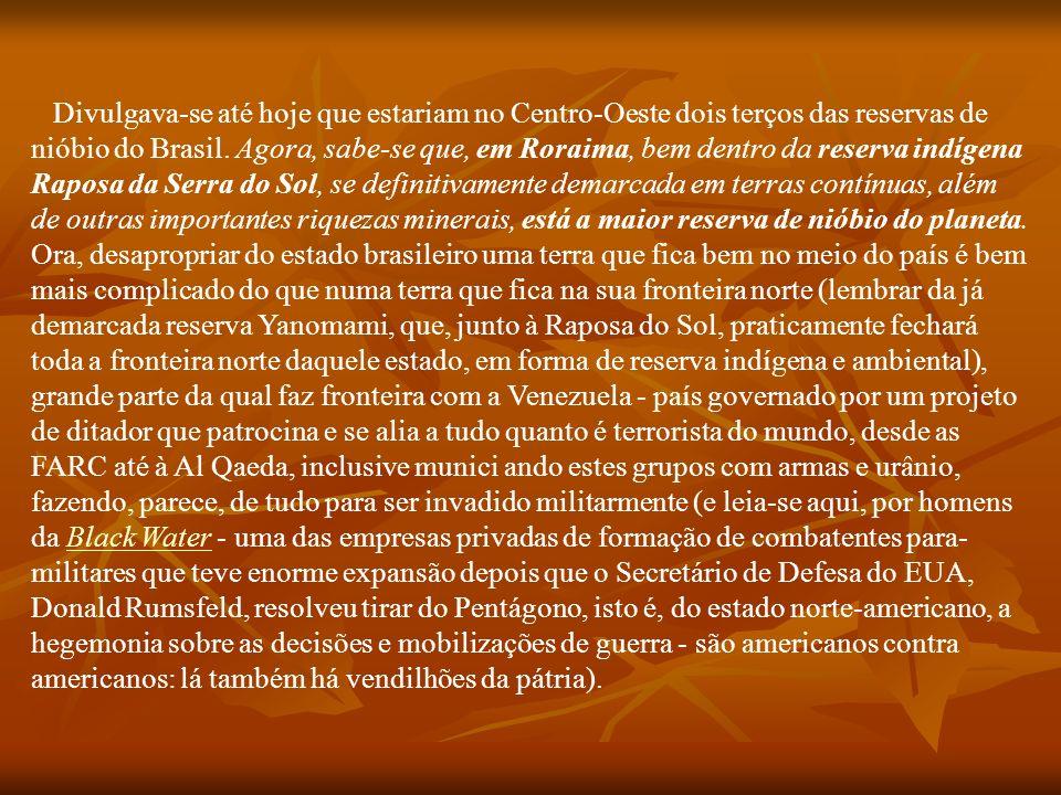 Divulgava-se até hoje que estariam no Centro-Oeste dois terços das reservas de nióbio do Brasil.