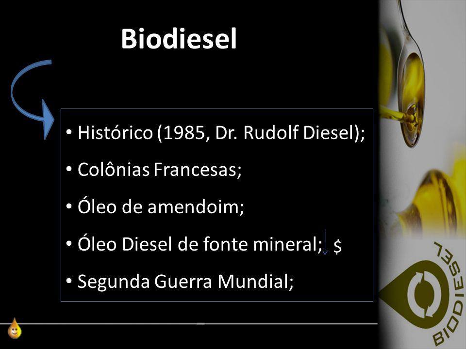 Biodiesel Histórico (1985, Dr. Rudolf Diesel); Colônias Francesas;