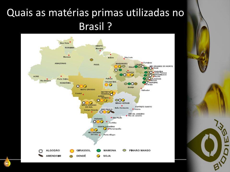 Quais as matérias primas utilizadas no Brasil