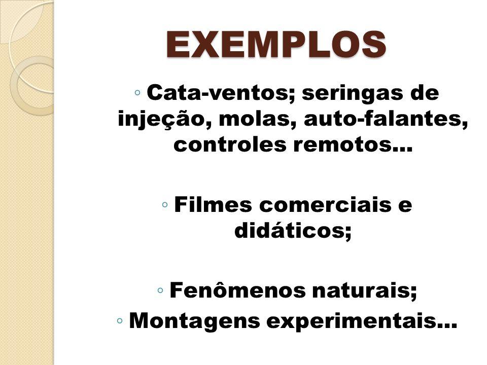 EXEMPLOS Cata-ventos; seringas de injeção, molas, auto-falantes, controles remotos... Filmes comerciais e didáticos;