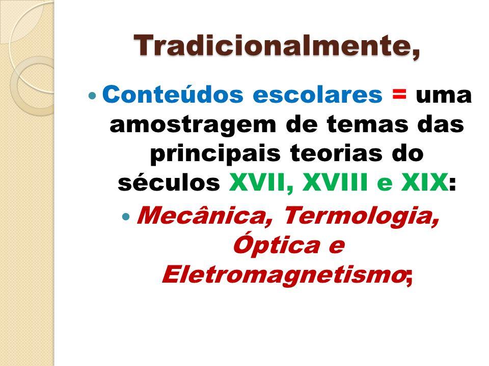 Mecânica, Termologia, Óptica e Eletromagnetismo;