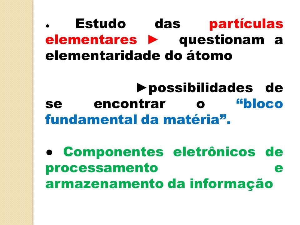 ►possibilidades de se encontrar o bloco fundamental da matéria .