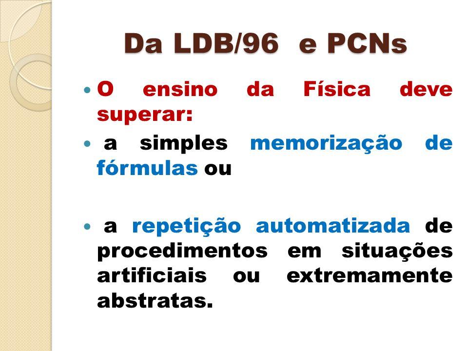 Da LDB/96 e PCNs O ensino da Física deve superar: