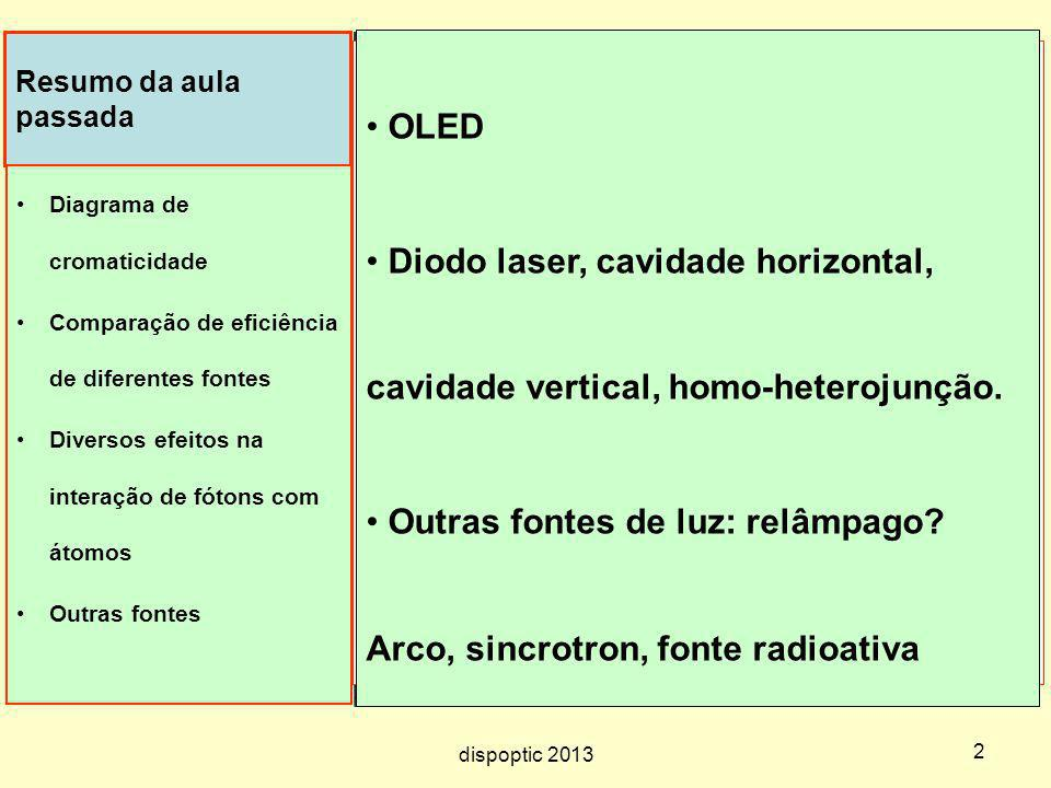 Outras fontes de luz: relâmpago Arco, sincrotron, fonte radioativa