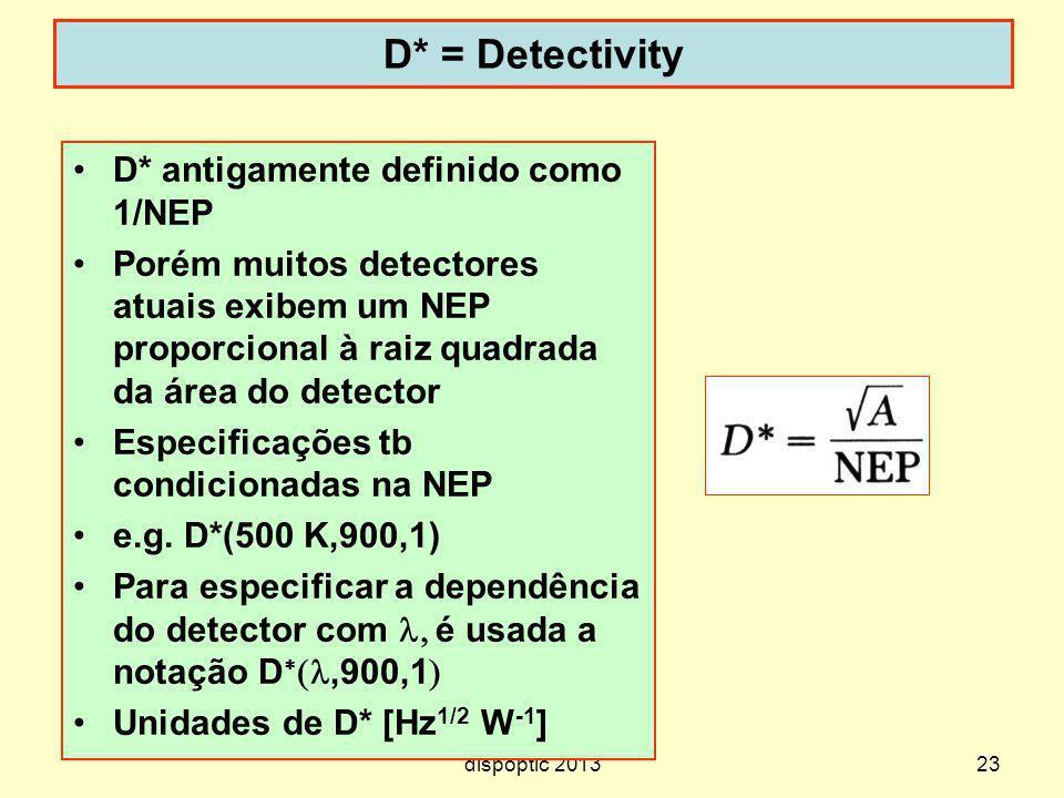 D* = Detectivity D* antigamente definido como 1/NEP