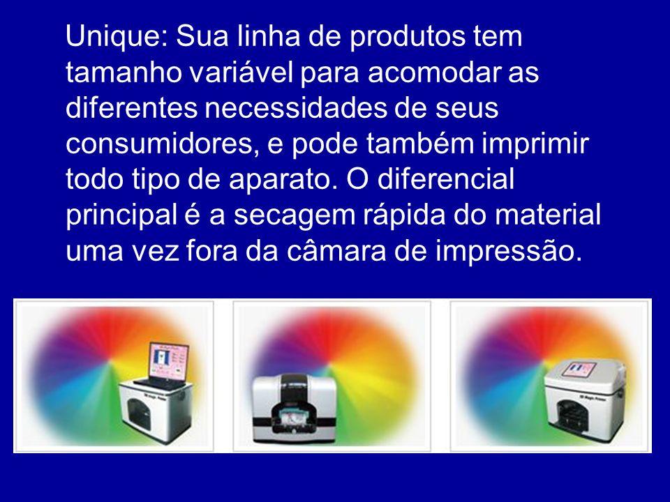 Unique: Sua linha de produtos tem tamanho variável para acomodar as diferentes necessidades de seus consumidores, e pode também imprimir todo tipo de aparato.
