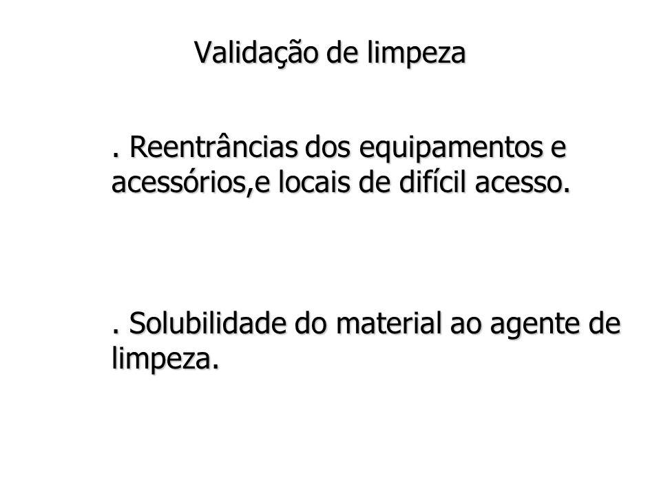 Validação de limpeza . Reentrâncias dos equipamentos e acessórios,e locais de difícil acesso.