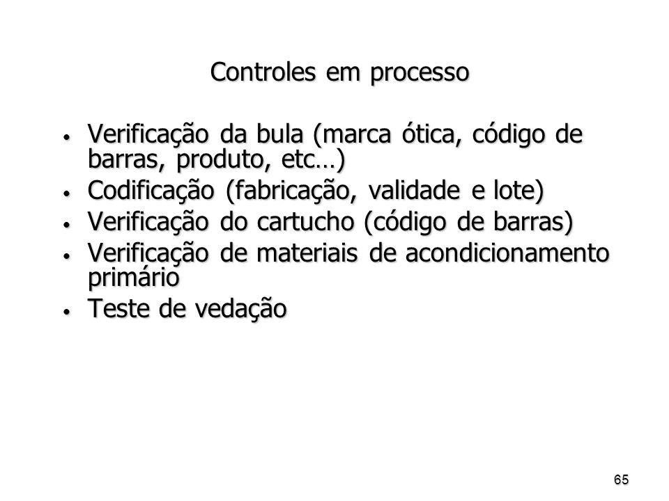 Controles em processo Verificação da bula (marca ótica, código de barras, produto, etc…) Codificação (fabricação, validade e lote)
