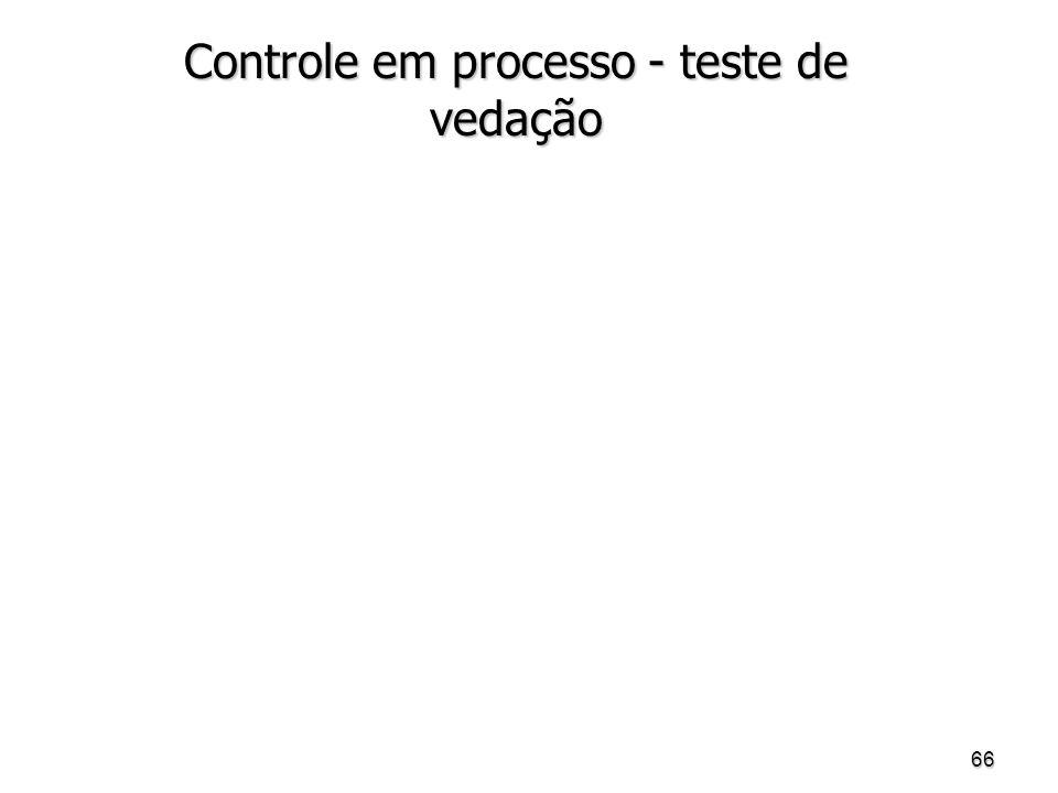 Controle em processo - teste de vedação