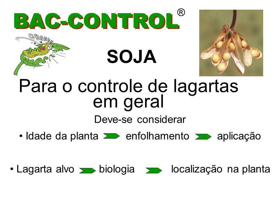 BAC-CONTROL SOJA Para o controle de lagartas em geral ®
