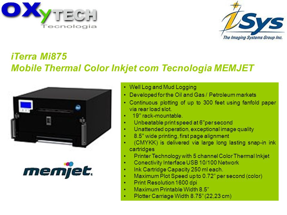 Mobile Thermal Color Inkjet com Tecnologia MEMJET