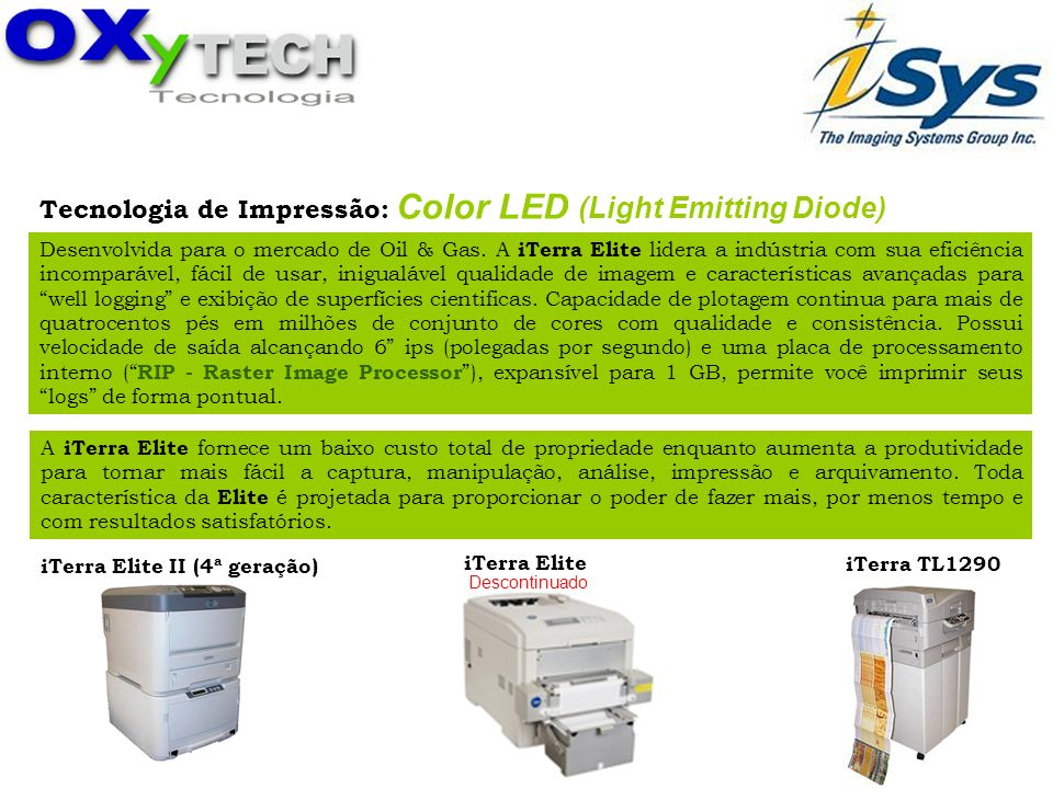 Tecnologia de Impressão: Color LED (Light Emitting Diode)