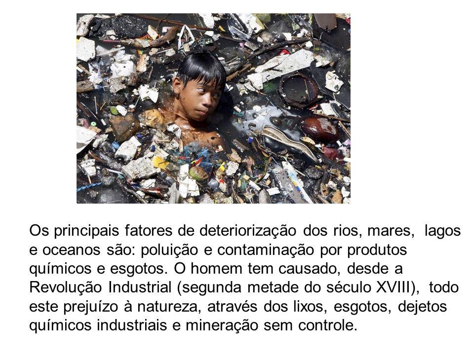 Os principais fatores de deteriorização dos rios, mares, lagos e oceanos são: poluição e contaminação por produtos químicos e esgotos.