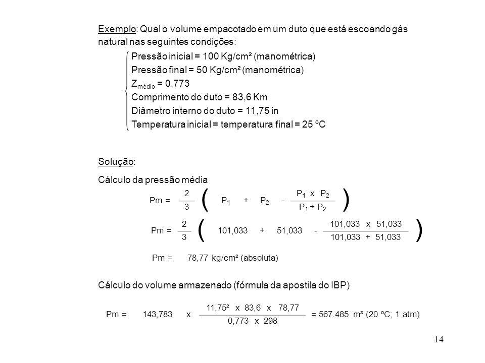 Exemplo: Qual o volume empacotado em um duto que está escoando gás natural nas seguintes condições: