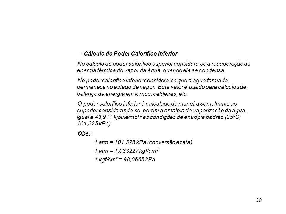 – Cálculo do Poder Calorífico Inferior