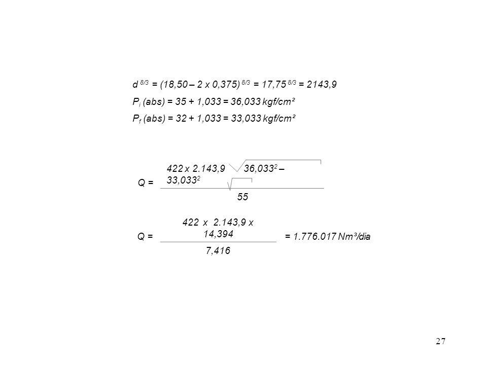 d 8/3 = (18,50 – 2 x 0,375) 8/3 = 17,75 8/3 = 2143,9 Pi (abs) = 35 + 1,033 = 36,033 kgf/cm². Pf (abs) = 32 + 1,033 = 33,033 kgf/cm².