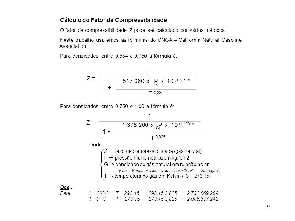 Cálculo do Fator de Compressibilidade