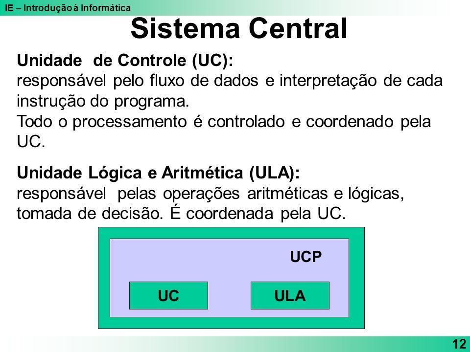 Sistema Central Unidade de Controle (UC):