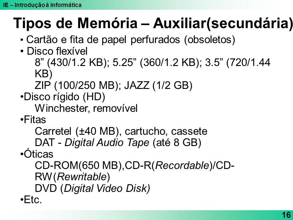 Tipos de Memória – Auxiliar(secundária)