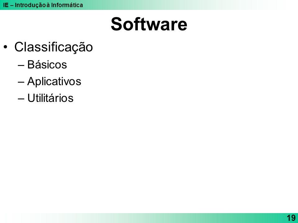 Software Classificação Básicos Aplicativos Utilitários