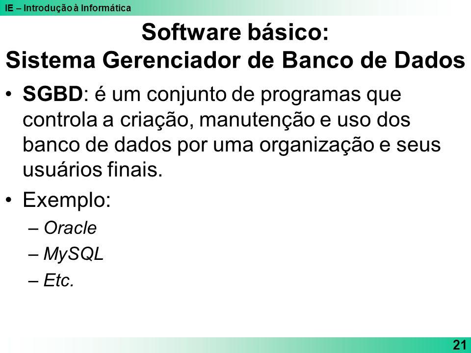 Software básico: Sistema Gerenciador de Banco de Dados